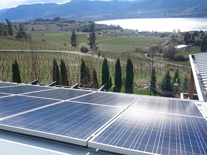 Solar panel installation on Earlco Vineyards in Penticton, BC.