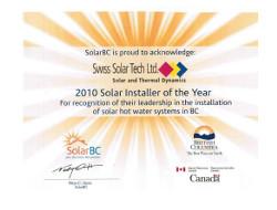 Solar BC Installer of the Year Award