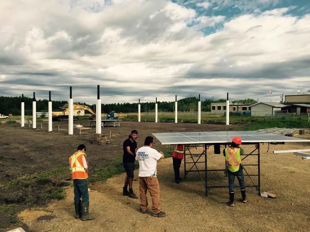 One-axis pole mount solar PV seasonal adjustable Little Buffalo Alberta